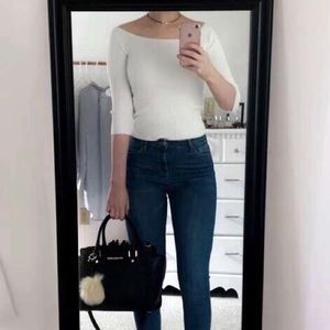 Ribbed White Off The Shoulder Top